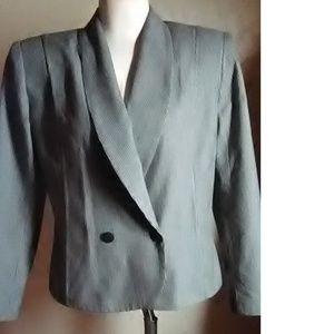 HBS Ltd. Petites Vintage Gray Check Blazer Size 10